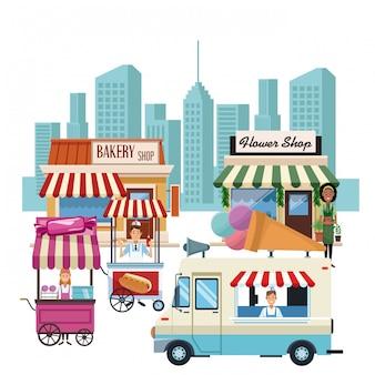 Продовольственная будка и магазины