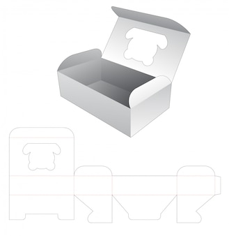 Food box with bear shaped window die cut template