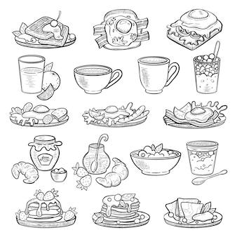 손으로 그린 스타일의 음식 아침 식사 컬렉션