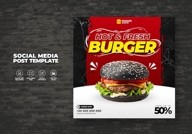 Food burger menu ресторан для социальных сетей шаблон продвижения специально бесплатно