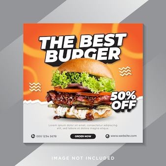 Food burger social media instagram post banner template
