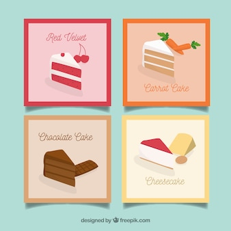 Food card collection with flat design
