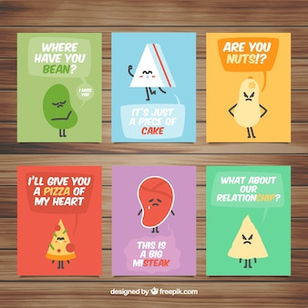Food cards collection with cute cartoons