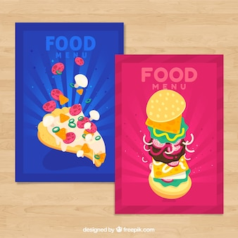 Food cards collection with fast food