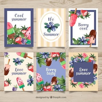 Food cards collection with ice creams