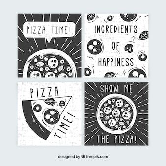 Food cards collection with pizza