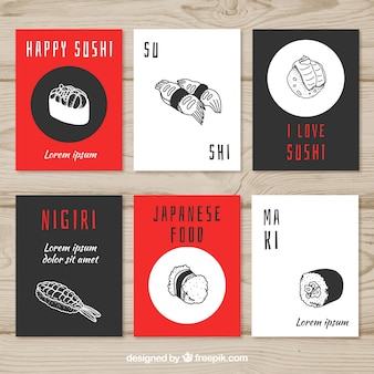 Food cards collection with sushi