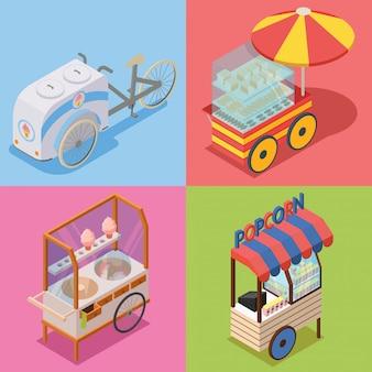 Food cart isometric illustration pack