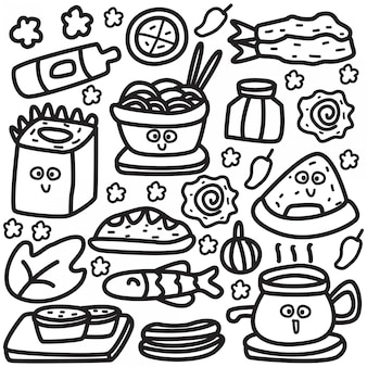 Food cartoon doodle design template