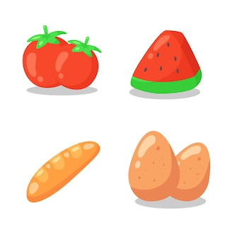 Food cartoon flat icon collections.