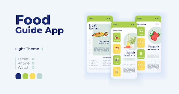 Food choice app cartoon smartphone interface vector templates set. mobile app screen page day mode design. best recipes, nutritious dishes. ui for application. phone display with flat objects