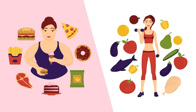 食品選択コンセプトバナーイラスト。健康的で新鮮な野菜と不健康なファーストフードを持つ2人の女の子。果物とオーガニック製品とジャンク製品のハンバーガー。
