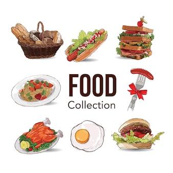 Рисование руки коллекции еды