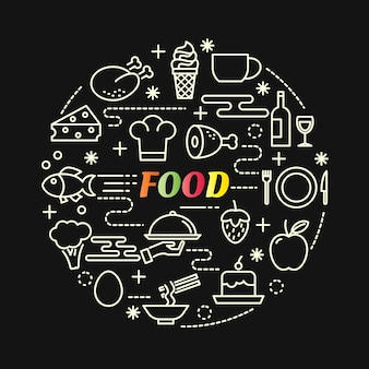 Food colorful gradient with line icons set