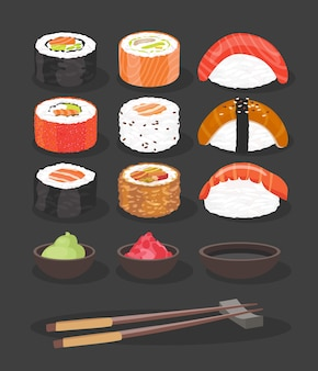 Food. colorful sushi rolls set of different types chopsticks and bowls with wasabi soy ginger isolated illustration