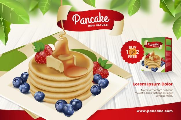 맛있는 팬케이크를 곁들인 식품 광고