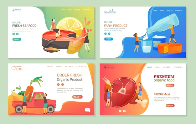 Food company website landing page templates, grocery products online store web banners.