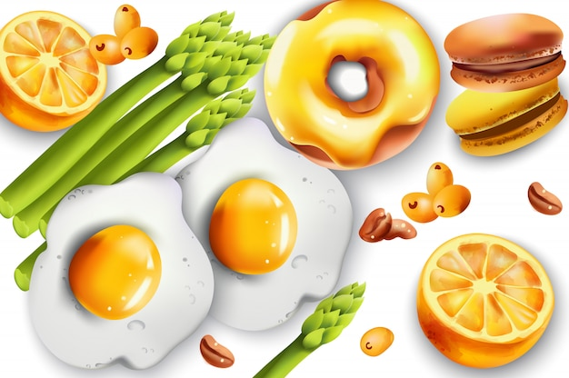 Food composition with fried eggs, asparagus, donut, macarons, lemons, coffee beans and pyracantha berries