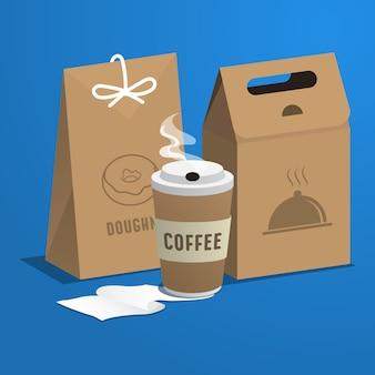 음식 개념 커피 플라스틱 냄비와 음식 종이 봉지