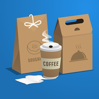 Food concept coffee plastic pot and food paper bag