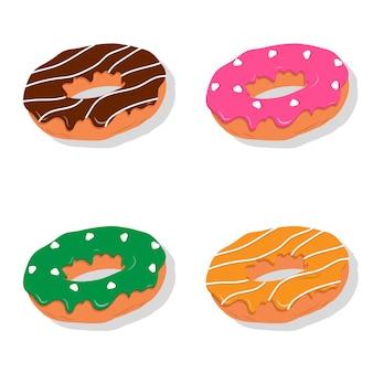 Графический дизайн иллюстрации концепции еды донута с много вкусов.
