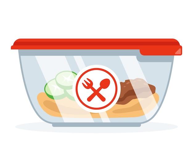 직장에서 점심을 위한 식품 용기. 냉장고에서 신선한 음식. 평면 벡터 일러스트 레이 션.