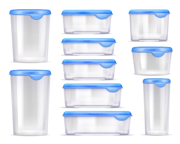 Food containers realistic icon set
