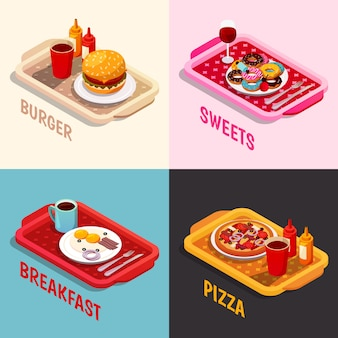 Food cooking isometric concept
