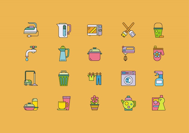 Food cooking tools icons set, home appliance