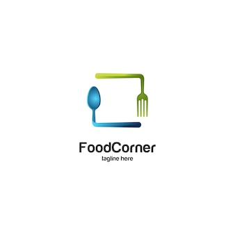 Food corner spoon and fork logo