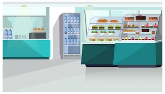 Food counter in confectionery store illustration