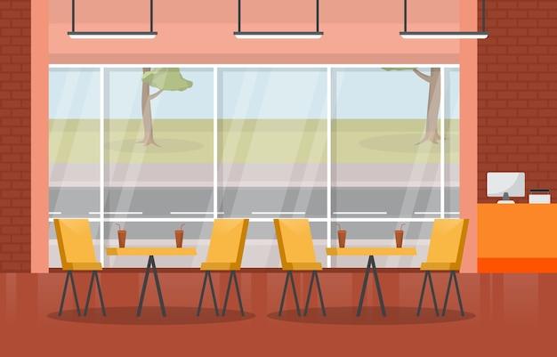 フードコート屋内インテリア空のレストランカフェテリアイラスト