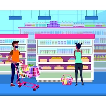 Люди фуд-корта держатся на расстоянии, делая покупки в продуктовом магазине