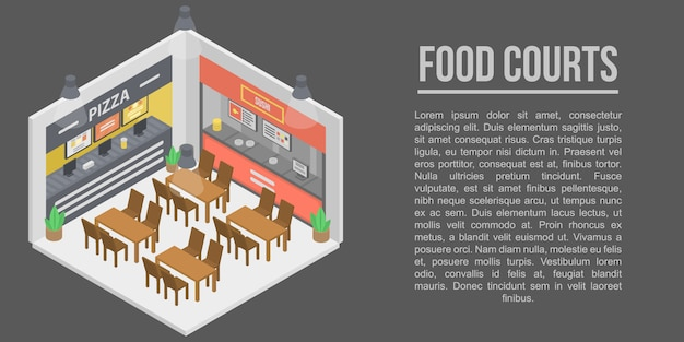 Food courts concept banner, isometric style