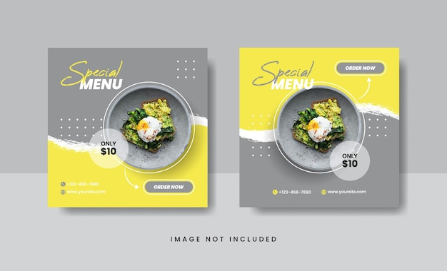 Food culinary banner for social media post template