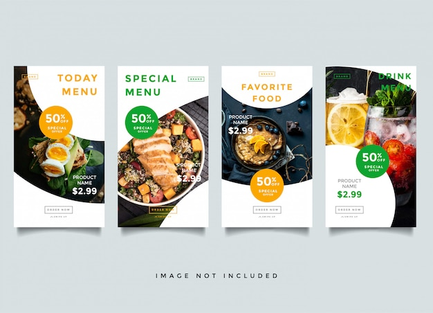 Food and culinary instagram stories templates