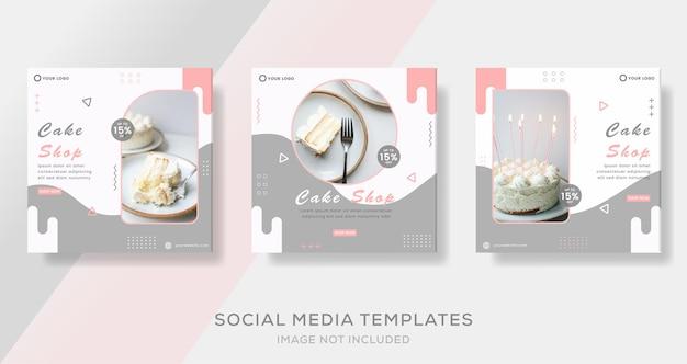 Food culinary menu banner for cake shop template post premium