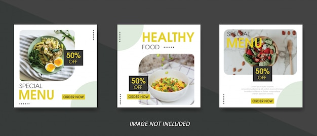 Food and culinary sale banner template for social media post