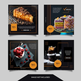 Food culinary social media ads banner post template collection