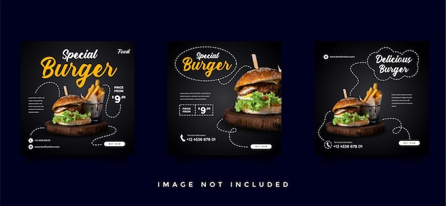 Food and culinary social media promotion template collection