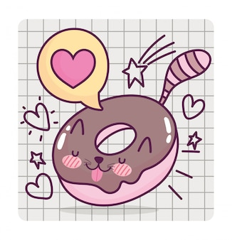 Food cute sweet doughnut shaped cat cartoon on grid background