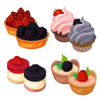 Food delicious dessert made by strawberry and blackberry element set collection