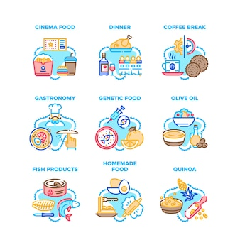 Food delicious set icons