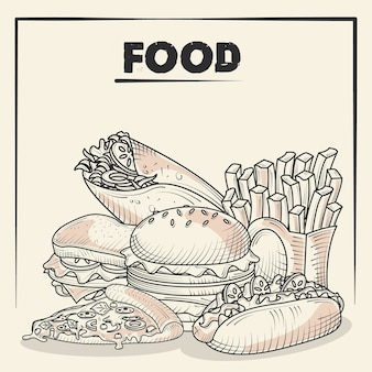 Food and delicious snacks burger french fries pizza taco hand drawn poster illustration