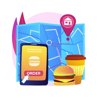 Food delivery abstract concept   illustration. products shipping during coronavirus, safe shopping, self-isolation servies, online order, stay home, social distancing