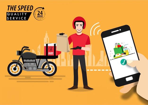 Приложение доставки еды на smartphone отслеживая работнику доставляющего покупки на дом на мопеде с готовой концепцией еды, технологии и снабжения, горизонтом города на заднем плане.