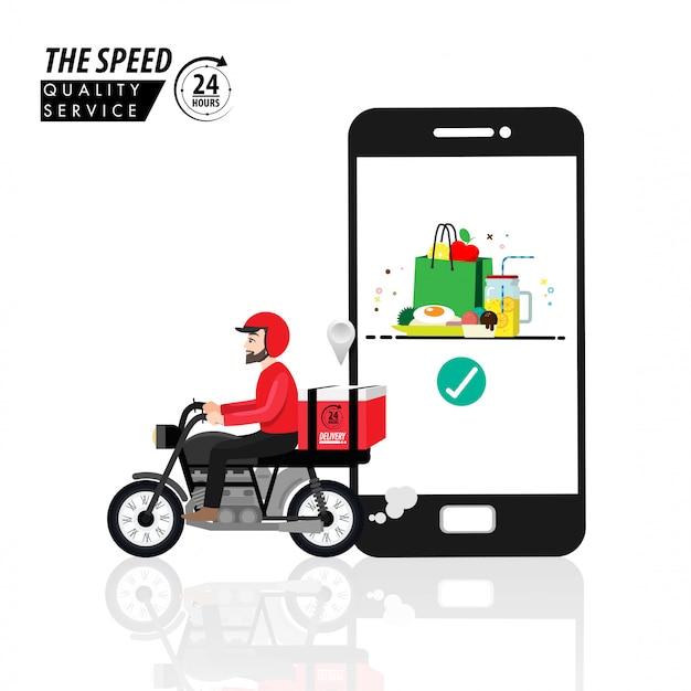 거울 배경에서 준비 식사, 기술 및 물류 개념 오토바이에 배달 남자를 추적하는 스마트 폰의 음식 배달 응용 프로그램.