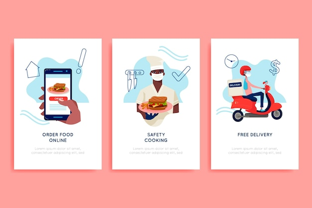 Food delivery app onboarding screens