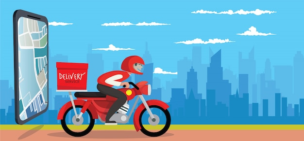 Food delivery app on a smartphone, technology and logistics concept