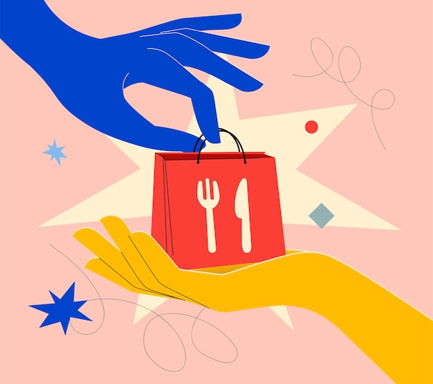 Food delivery banner concept in bright colors with hand gives bag with food to another hand